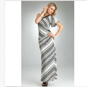 Bebe S Maxi Dress Black White Striped One Shoulder